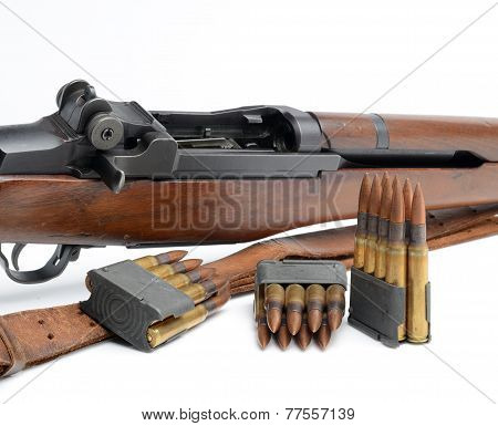 Rifle,Clips And Ammunition On White Background.