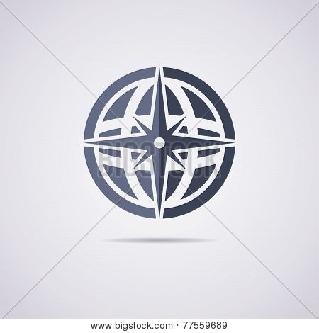 Vector Flat Icon Of Earth Globe And Compass
