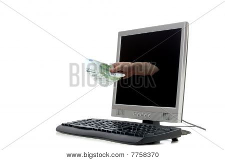 Money Coming Out Of One Computer Monitor