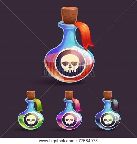 Cartoon bottles with poison and skull stickers on it, in different colors poster