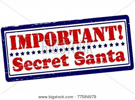 Rubber stamp with text important secret Santa inside vector illustration poster