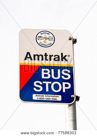 Amtrak Bus Stop Sign