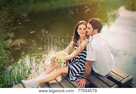 Sensual Romantic Couple In Love On Pier At The Lake In Sunny Day, Harmony Concept