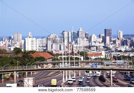 Freeway Leading Into Durban Viewed From Tollgate Bridge