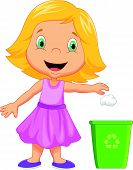 illustration of Young girl throwing trash into litter bin poster