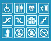 Vector white public icons with toilet, child, trash, dog, elevator, escalator, exit, stairs, wheelchair, no smoking poster
