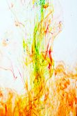 color ink in the white water. macro poster