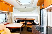 Down position of bunk bed in recreational vehicle poster