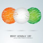 Creative circles design in national tricolor for Happy Indian Republic Day celebration on sky blue background. poster