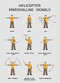 Helicopter marshalling signals infographics poster in vector poster
