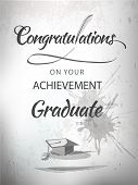 Graduate congratulations achievement  typography with mortar in textured background. poster