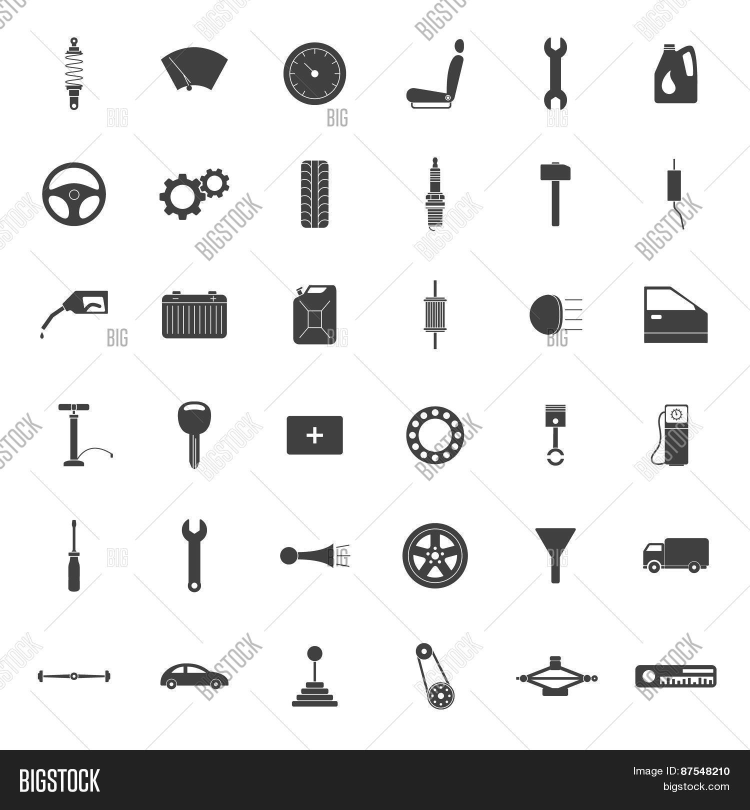 Simple Car Parts Icons Vector & Photo | Bigstock