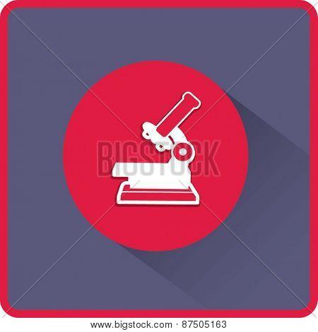 Professional laboratory optical microscope. Vector illustration