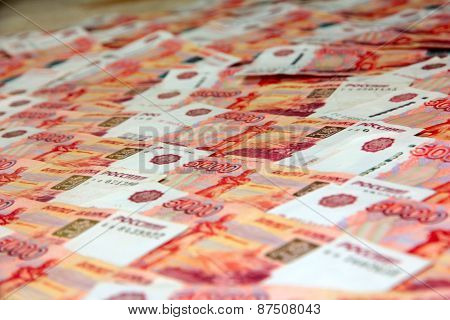 heap of the Russian money notes by dignity 5000 roubles poster