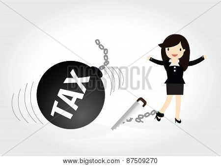 Business Woman Tax Concept.