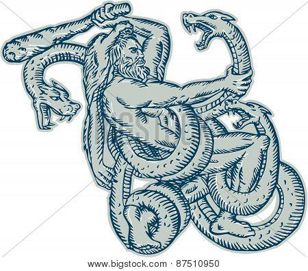 Hercules Fighting Hydra Club Etching