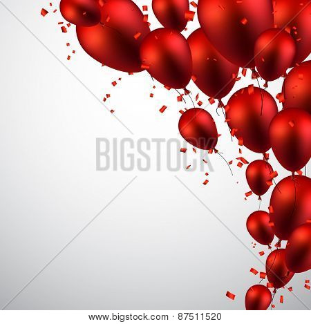 Celebration background with red balloons and confetti. Vector illustration.
