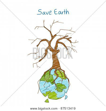 illustration of Earth with dry tree showing distruction
