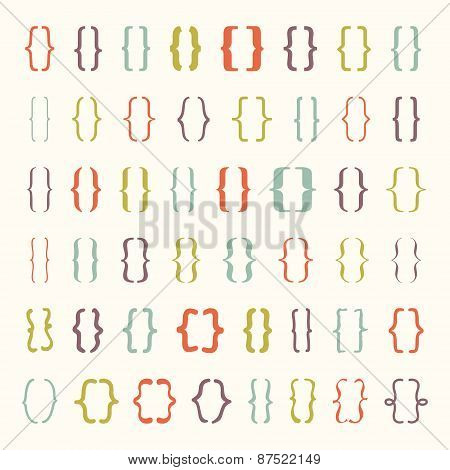 Set of colored vector braces or curly brackets icon