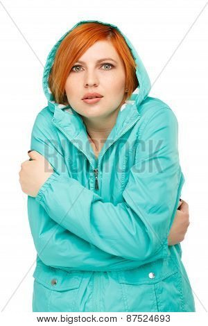 Portrait Of A Girl In A Jacket With A Trembling From The Cold
