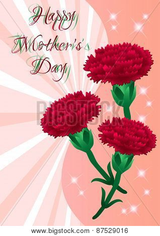 Greeting Card With Flowers On Mother's Day