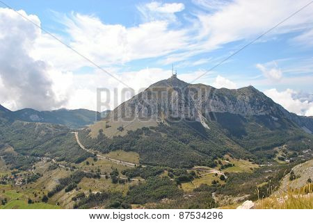 Shtirovnik - top of Lovchen mountain, Montenegro. The altitude - 1749 m. Now the telecommunications station stands at the top. View from second top. - September, 2014. poster