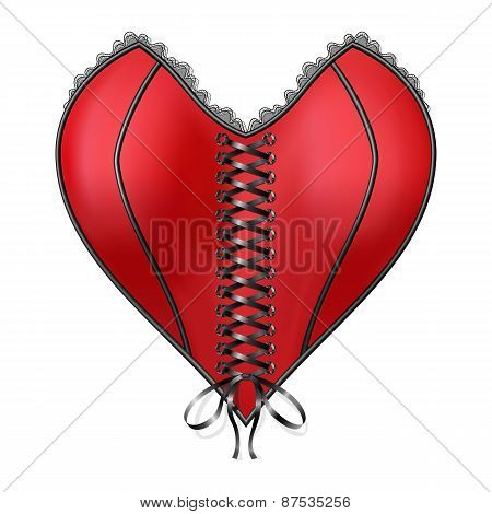 Red corset heart with lacing. Isolated on white background. Vector illustration poster