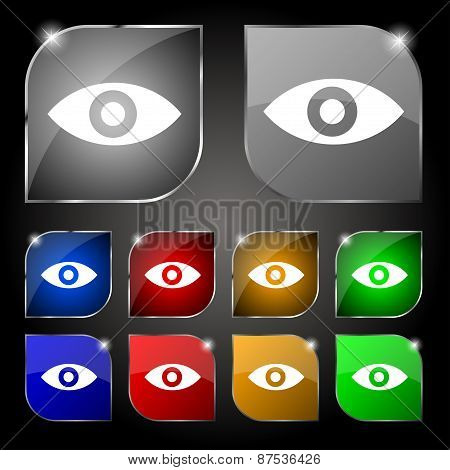 Eye, Publish Content, Sixth Sense, Intuition Icon Sign. Set Of Ten Colorful Buttons With Glare. Vect
