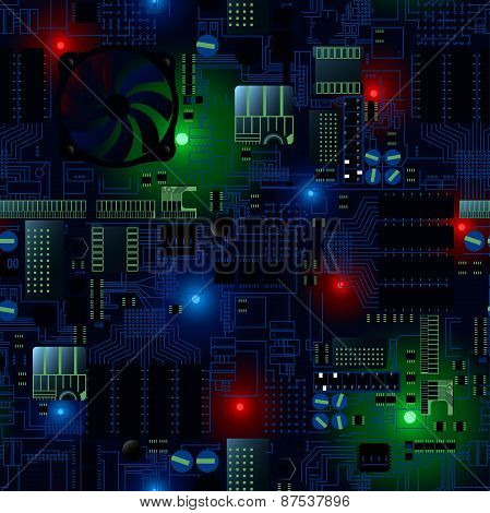 Circuit Board With Led's And Wires Seamless Pattern