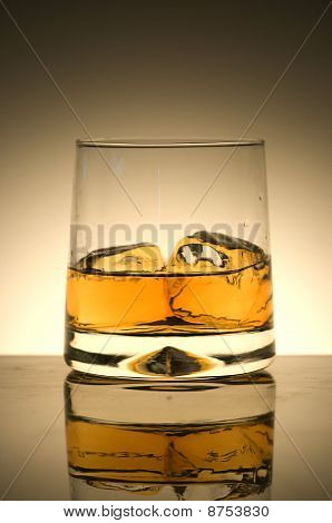 A glass of whisky on the rocks