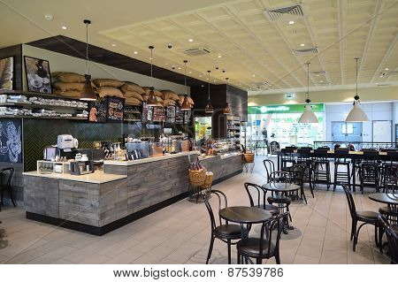 MOSCOW, RUSSIA - MARCH 28, 2015: Starbucks Cafe interior. Starbucks Corporation is an American global coffee company and coffeehouse chain based in Seattle, Washington