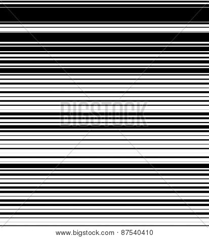 Straight, Horizontal Lines Pattern With Random Thickness. Black And White Background. (seamlessly Re