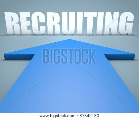 Recruiting - 3d render concept of blue arrow pointing to text. poster