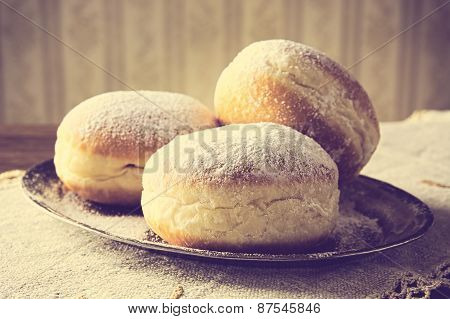 Close-up Image Doughnuts On Tray In Old-style Wallpaper