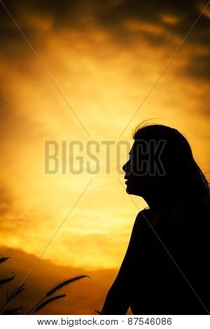 abstract Hope with silhouette women