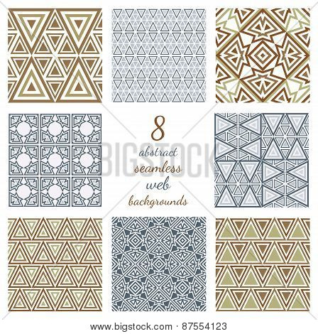 Set Of Abstract Geometric Seamless Web Backgrounds