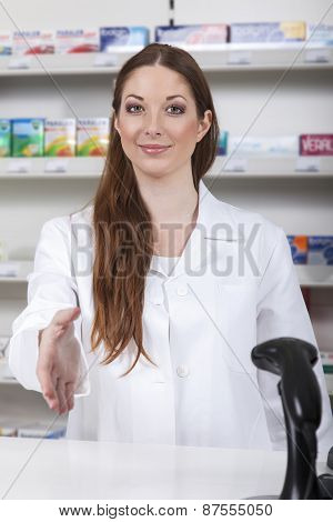 Pharmacist greeting you