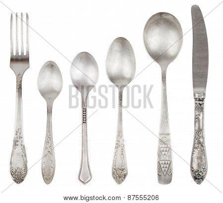 Aged Vintage Silver Fork, Knife, Spoons