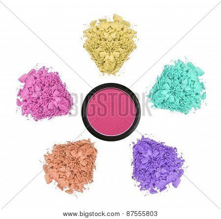 Crushed Color Eyeshadows Isolated On White