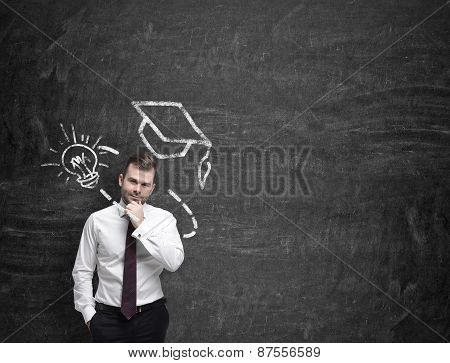 Young Man Is Thinking About Further Education,