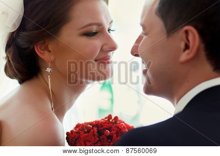 Wedding Couple Looking At Each Other