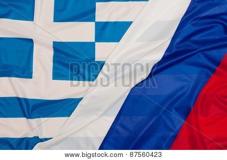 Flags Of Russia And Greece