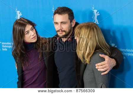 BERLIN, GERMANY - FEBRUARY 10:  M. J. Croze, Charlotte Gainsbourg and James Franco. 'Every Thing Will Be Fine' photocall. 65th Berlinale International Film Festival at Hyatt Hotel on February 10, 2015