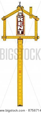Yellow wooden meter ruler in the shape of house and label with text for rent. For rent real estate sign isolated on white background poster