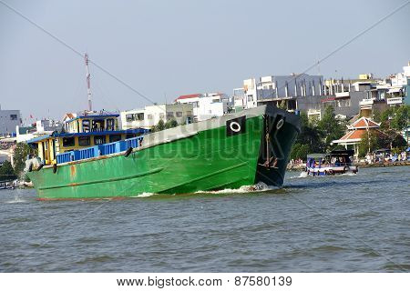 Large Green Cargo Boat