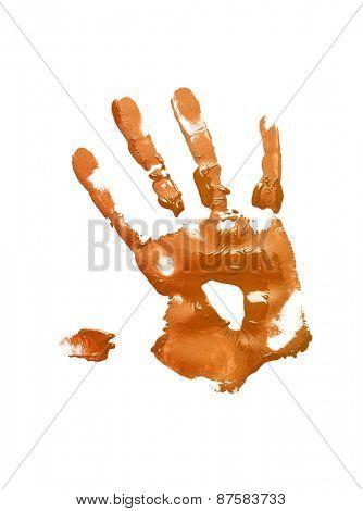 Orange handprint on white background
