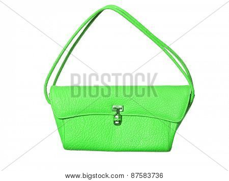 Green purse isolated on white background