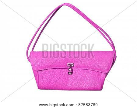 Pink purse isolated on white background