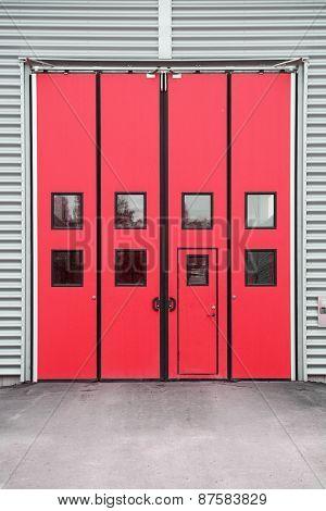 Red Garage Door on a warehouse building