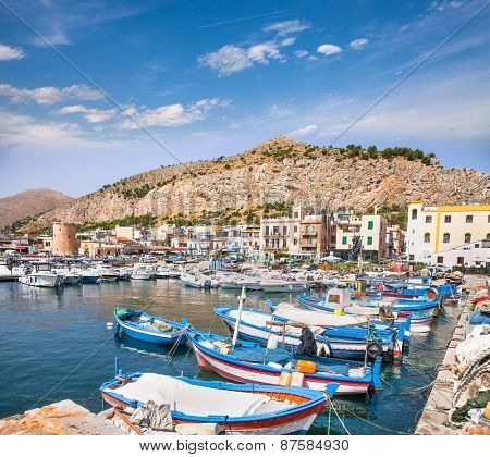 Beautiful panoramic view of Mondello port in Palermo, Sicily. Italy.
